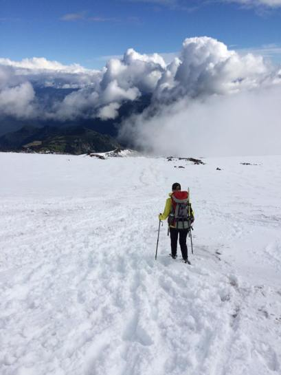 Me, hiking down from Camp Muir in Mount Rainier National Park.